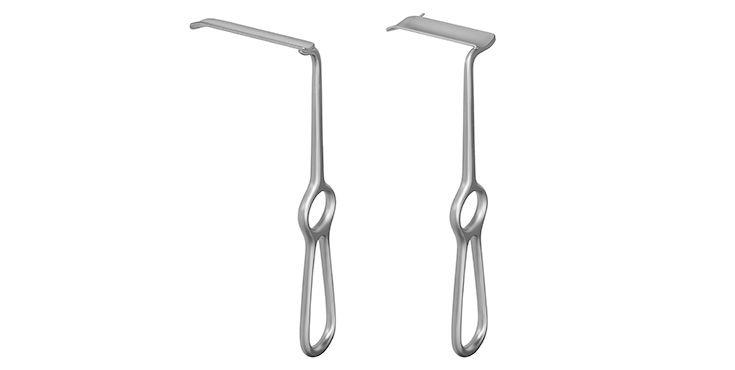 Retractores intraorales para la osteotomía sagital de rama ergonómica del maxilar inferior según el Prof. Lindorf