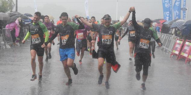 Team in the rain