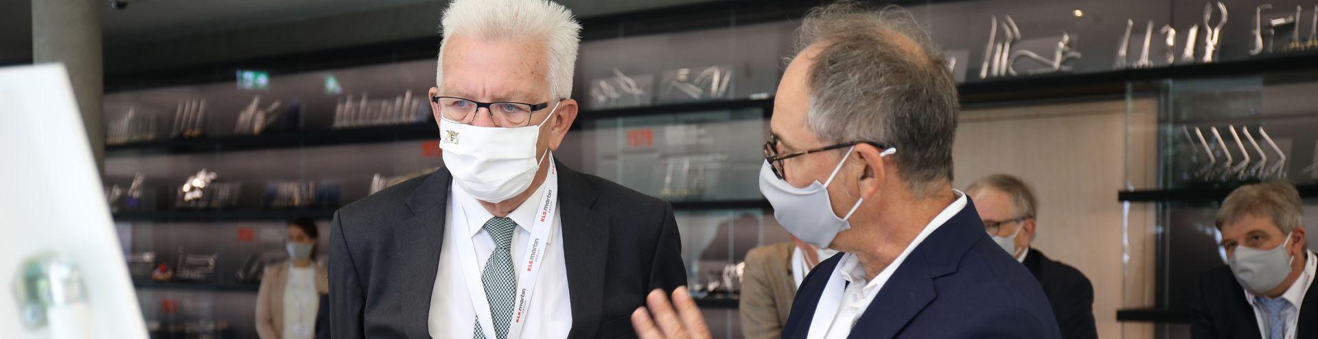 Ministerpräsident Winfried Kretschmann und Geschäftsführer Michael Martin